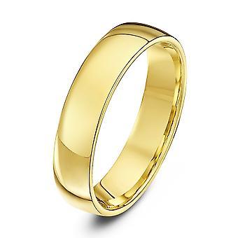 Star Wedding Rings 9ct Yellow Gold Light Court Shape 5mm Wedding Ring