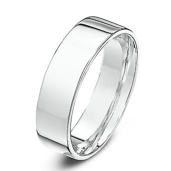 Star Wedding Rings 9ct White Gold Light Flat Court Shape 5mm Wedding Ring