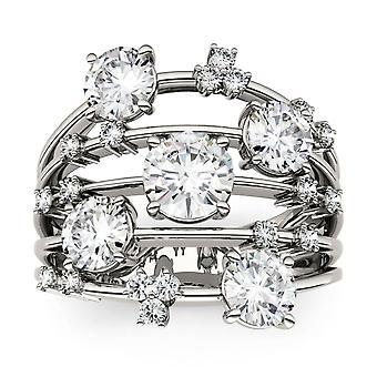 14K White Gold Moissanite by Charles & Colvard Fashion Galaxy Ring, 3.15cttw DEW