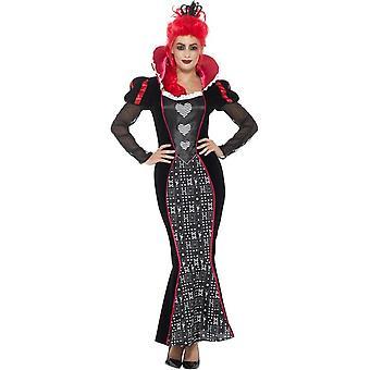 Deluxe Baroque Dark Queen Costume, Red, with Dress & Headband
