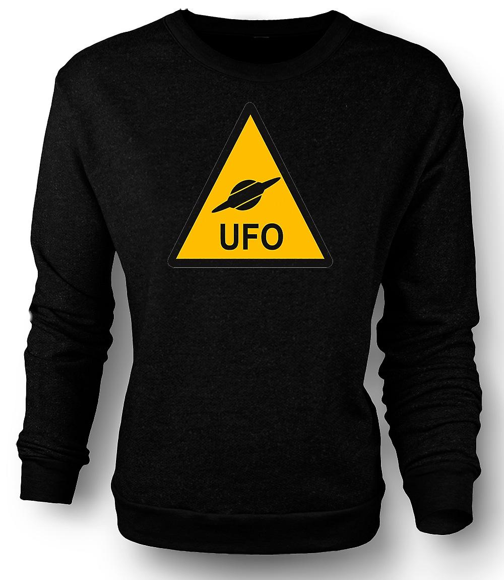 Mens Sweatshirt UFO Warning Sign - Funny Kids