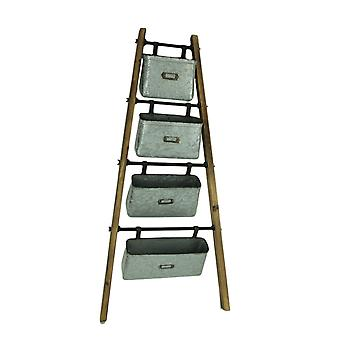 Rustic Wood and Metal 4 Basket Leaning Ladder Shelf