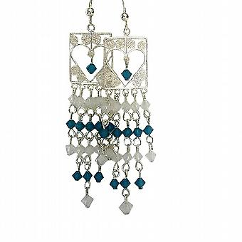 Real Sterling Silver 92.5 Heart Shaped Frame Chandelier Carribean Blue & Opal White Crystal