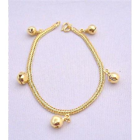Gold Plated Bracelet w/ Balls Dangling Thick Gold Plated Bracelet