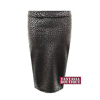 Womens Foil Fitted Leopard Print Bodycon Knee Length Pencil Ladies Skirt