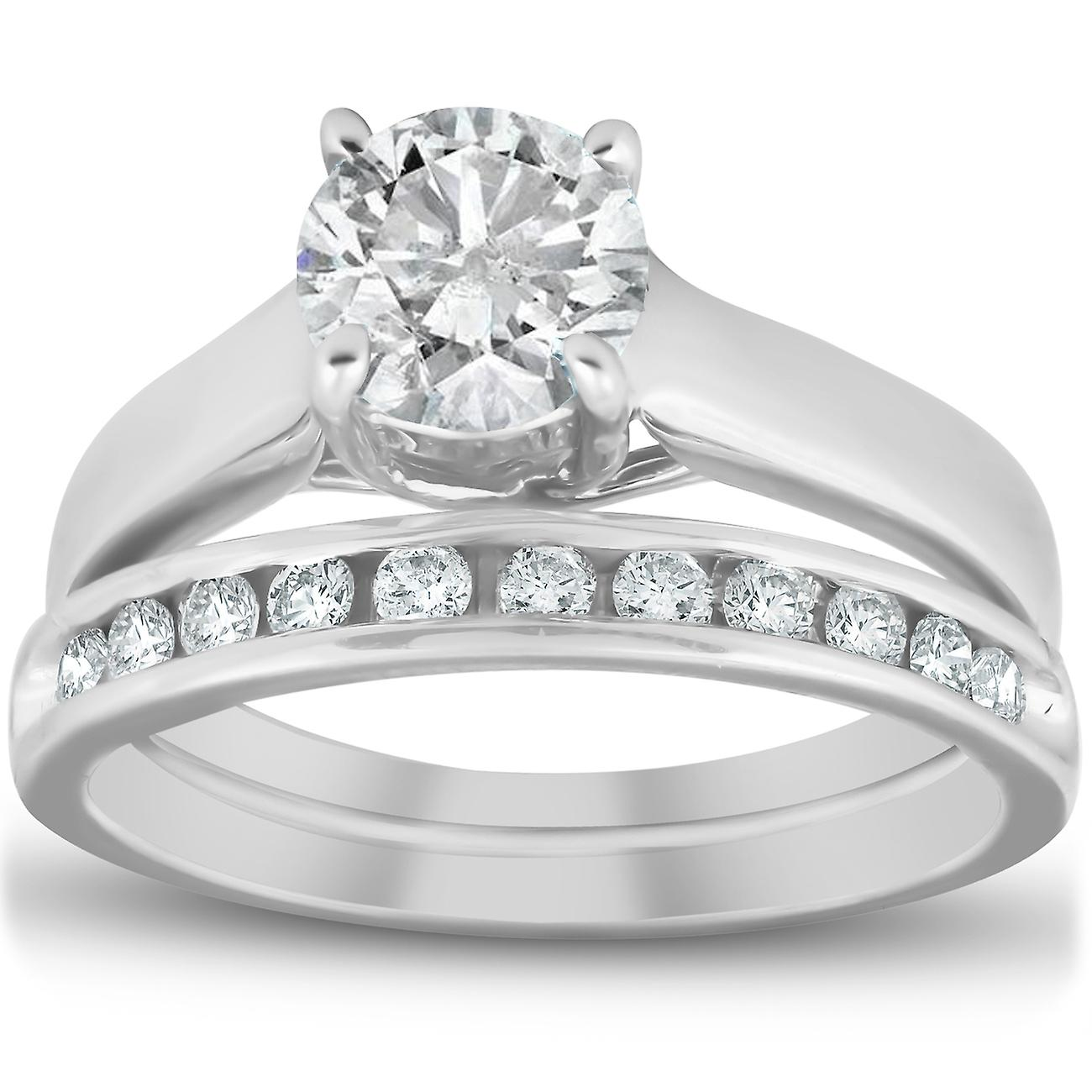 1 1 2ct Solitaire Round Enhanced Diamond Engagement Ring Set 14K blanc or