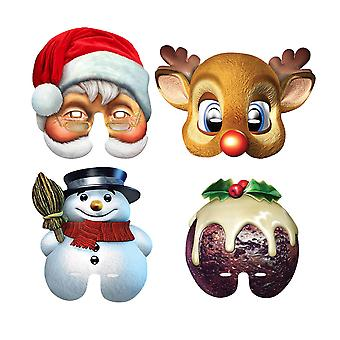 Christmas Party Half Face Card Mask Variety Pack of 4