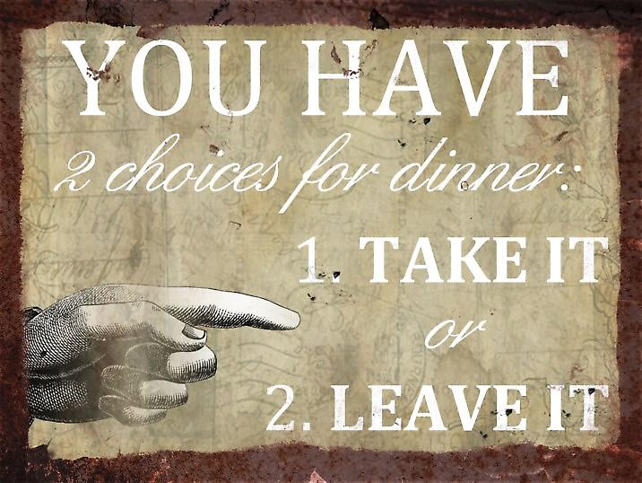 Vintage Metal Wall Sign - 2 Choices for dinner, Take it or leave it