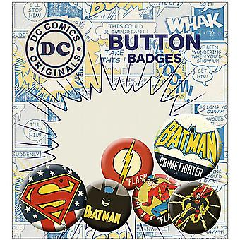 DC Comics 6 round Pin Badges in Pack incl. Batman Crimefighter (ge)