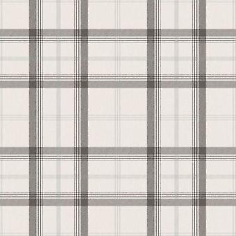 Karierte Tapete Tartan Karo-Klassiker Cambridge schwarz weiß Silber feine Dekor