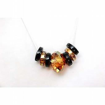 Toc Copper and Jet Bead Swarovski Elements Necklace on 18 Inch Chain