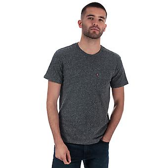Mens Levis Ss Classic Pocket T-Shirt In Charcoal-Short Sleeve-Ribbed Collar-