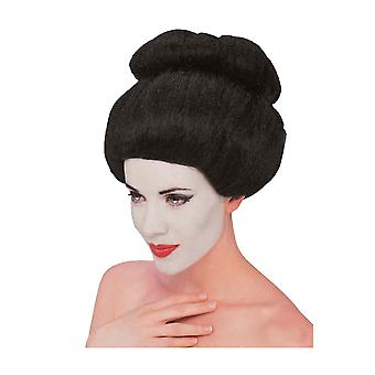 Geisha Deluxe Japanese Oriental Asian Black Bun Women Costume Wig