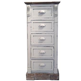 Weiß Shabby Chic Vintage Französisch Stil hohe Brust 5 Schubladen Schlafzimmer Möbel