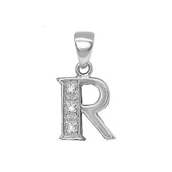 Jewelco London 9ct White Gold Pave Set Round H I2 0.02ct Diamond Identity Dainty Initial ID Charm Pendant Letter R