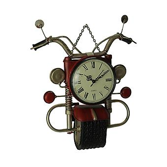 Red Metal Art Retro Motorcycle Wall Clock Sculpture