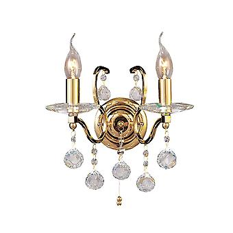 Diyas Zinta Wall Lamp Switched 2 Light French Gold/Crystal