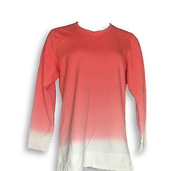 Denim & Co. Women's Top French Terry Dip Dye Long-Sleeve Pink A346977