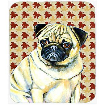 Pug Fall Leaves Portrait Mouse Pad, Hot Pad or Trivet
