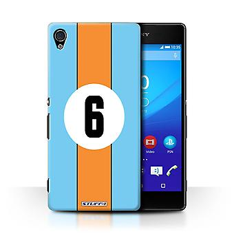 STUFF4 Case/Cover for Sony Xperia Z4v/E6508/Gulf/Blue/Orange/Racing Car Stripes