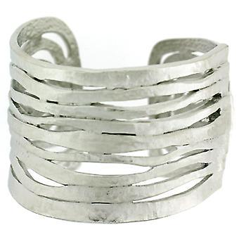 Kenneth Jay Lane Satin sølv Wave kuttet ut mansjett armbånd Bangle