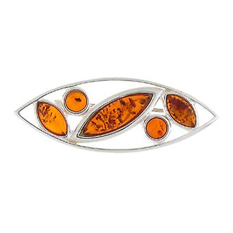 Broches winkel Amber & Sterling Zilver Marquise broche