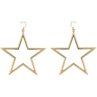 Kenneth Jay Lane Large Gold Plated Open Star Shaped Drop Earrings