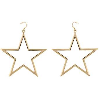 Kenneth Jay Lane dorados grandes pendientes con forma estrella abierta