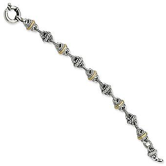 Sterling Silver With 14k Antiqued Link 7.75inch Bracelet - 28.9 Grams