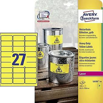 Avery-Zweckform L6105-20 Labels (A4) 63.5 x 29.6 mm Polyester film Yellow 540 pc(s) Permanent All-purpose labels, Weathe