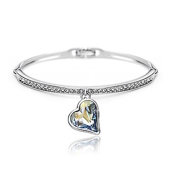 Rhodium Plated Swarovski Elements Crystals Ice Blue Heart Bracelet, 15cm