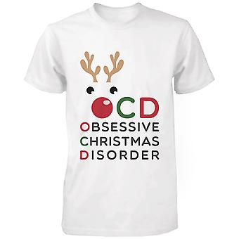Obsessive Christmas Disorder White Cotton T-shirt- Funny X-mas Graphic Tee