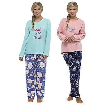 Damen-Tom Franken Applique und gedruckten lange warme Fleece Schlafanzug Nachtwäsche-Set