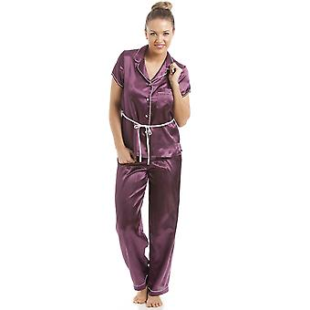 Camille Purple Kortärmad bältade Satin Pyjamas Set