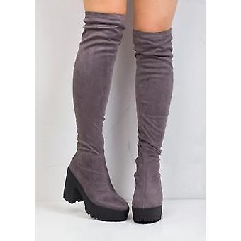 Über das Knie Klemmen alleinige Faux Wildleder Plattform Stiefel grau