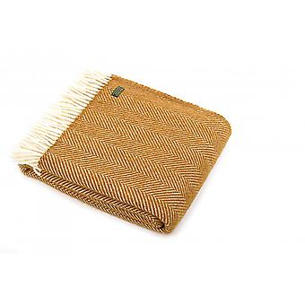 Tweedmill Pure New Wool Fishbone Throw - English Mustard