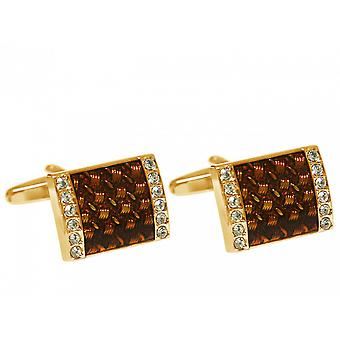 Men's cuff links stainless steel gold plated wedding fire enamel brown gold crystals