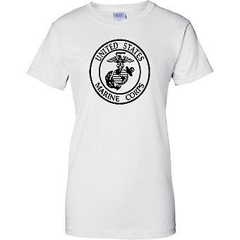USMC Unidos Insignia de infantería de Marina de los Estados B&W - señoras T Shirt