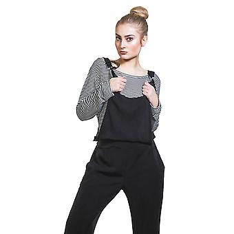 Jumpsuit with Striped T-shirt - Black Overall Playsuit One size UK 8-12