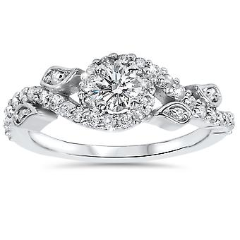 5/8ct Vintage Diamond Floral Halo Engagement Ring 14K White Gold