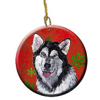 Alaskan Malamute Red Snowflakes Holiday Christmas  Ceramic Ornament