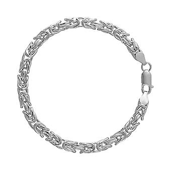 Fine Sterling Silver 925 Mens Gents Chunky Hollow Square Byzantine Chain Bracelet Width 6mm