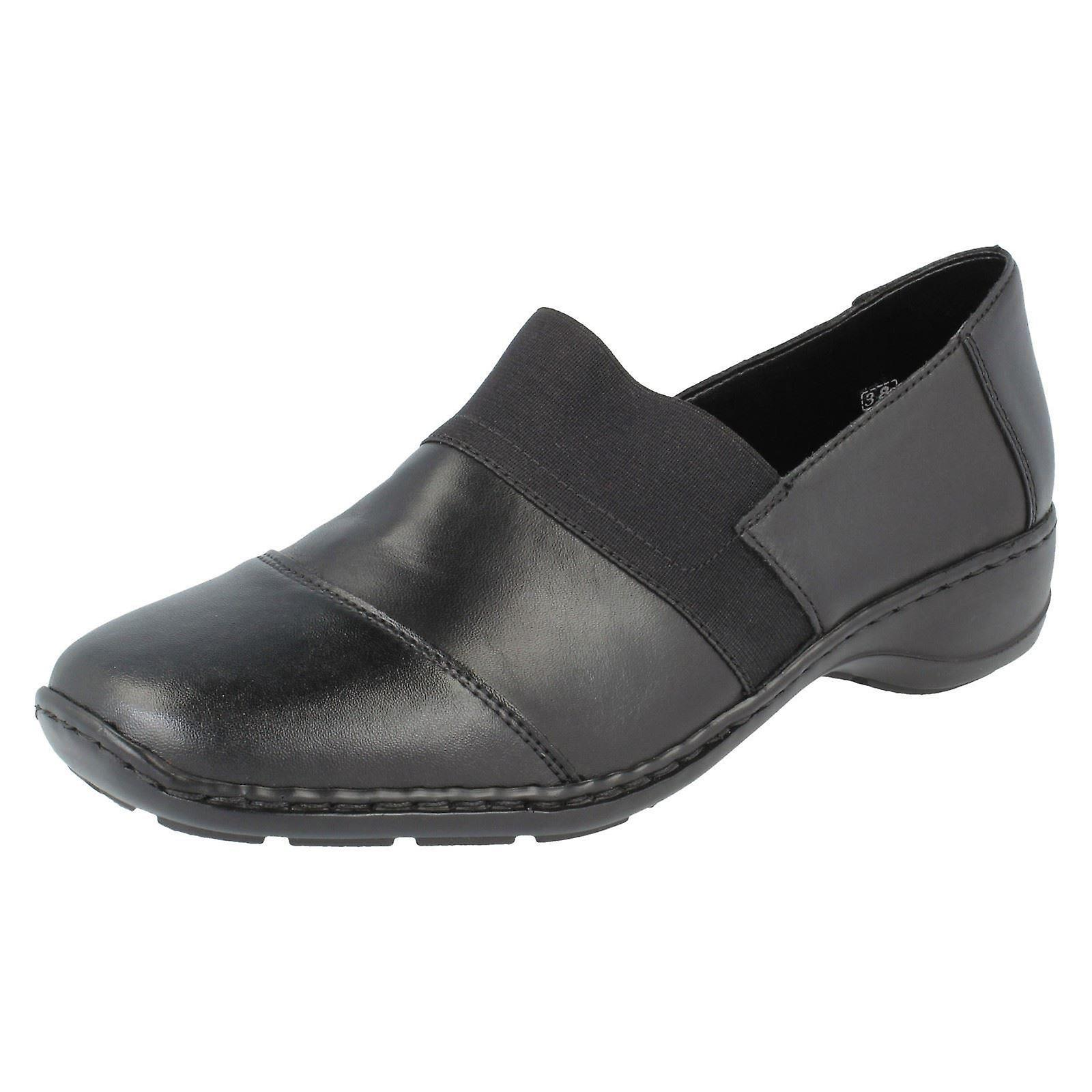 Damen Rieker flache Schuhe 58355-00 - Black - UK Size 4 - EU Größe 37 - Größe 6