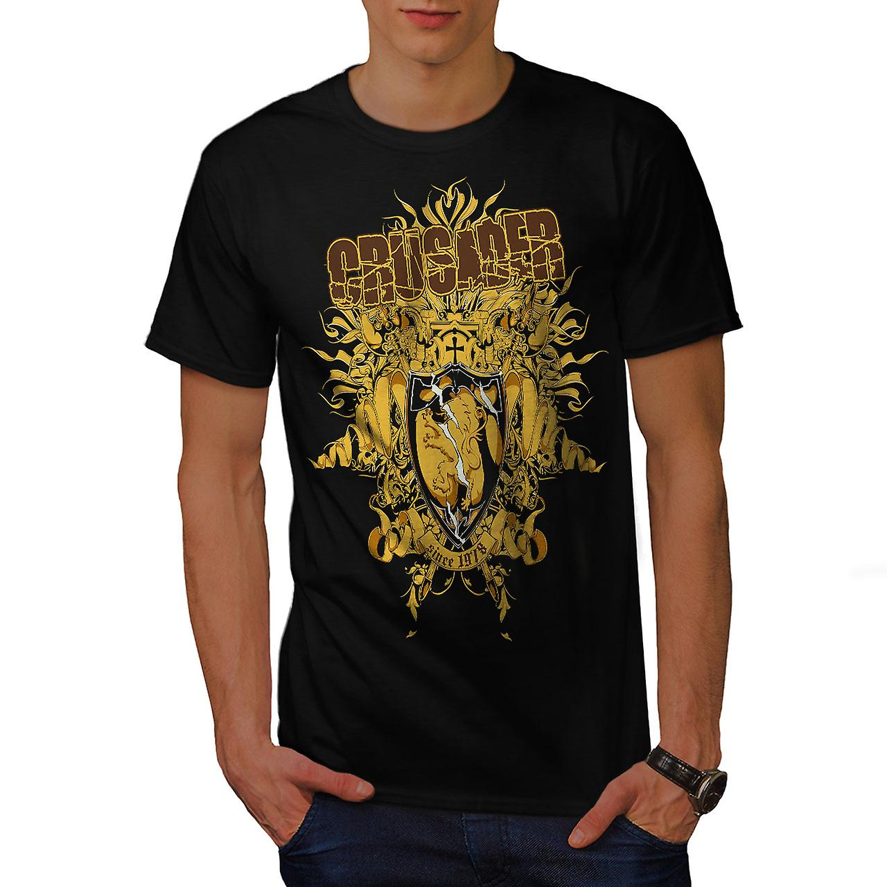 Crusader Shield Fashion Men Black T-shirt | Wellcoda