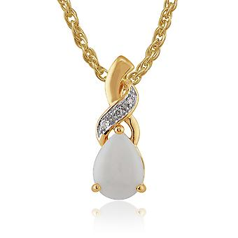 Gemondo 9ct Yellow Gold 0.54ct Opal & 1.5pt Diamond Pear Pendant on 45cm Chain