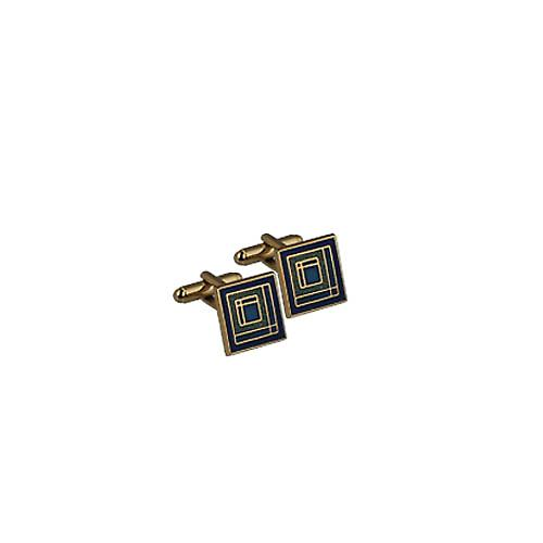 Hard Gold plated 16mm square enamel swivel Cufflinks