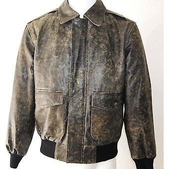 Kleine nood grijs gewassen Mens Leather Jacket