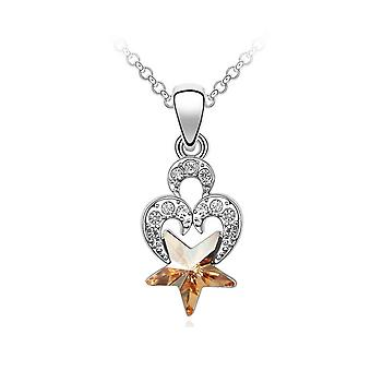 Ornate Crystal from Swarovski heart and star pendant