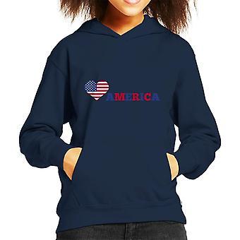 Love America Stars And Stripes Kid's Hooded Sweatshirt