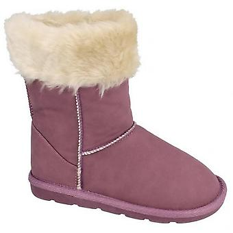 Spot On Girls Faux Fur Trim Casual Boots
